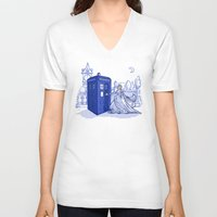 kindle V-neck T-shirts featuring Come Away with Me by Karen Hallion Illustrations