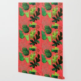 tropical leaves embroidered pattern Wallpaper