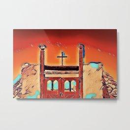 Cross and Gate Metal Print