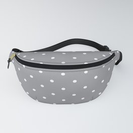Small White Polka Dots with Grey Background Fanny Pack