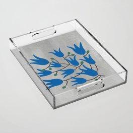 Blue Bell – Scandinavian folk art - Blue Bell Floral Acrylic Tray