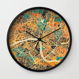 London Mosaic Map #3 Wall Clock