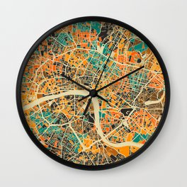 London Mosaic Map #3 Wall Clock