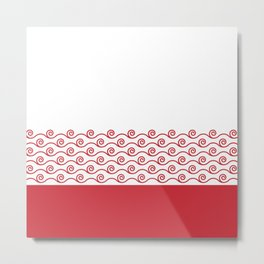 Waves Trim Pattern Flame Red Metal Print