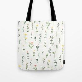 Watercolor Wildlflower Pattern Tote Bag