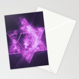 Magen David symbol, Star of David. Abstract night sky background. Stationery Cards