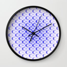 Braided light pattern of blue squares and rhombuses with diagonal volumetric triangles. Wall Clock