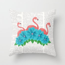 Flamingos and Flowers Throw Pillow