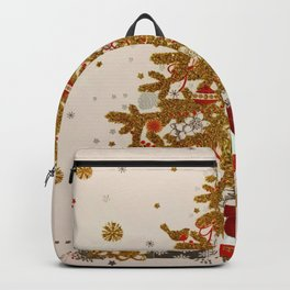 Cozy Christmas Gold Glittered Tree Presents Backpack