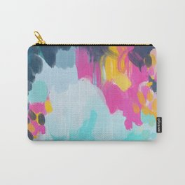 Blooms in storm- abstract pink, blue and teal  Carry-All Pouch