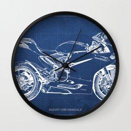 D Superbike 1299 Panigale 2015 blueprint Wall Clock