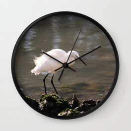 white heron bird by the river Wall Clock