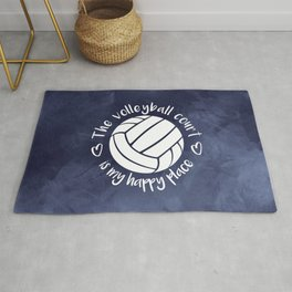 Volleyball court happy place blue abstract Rug