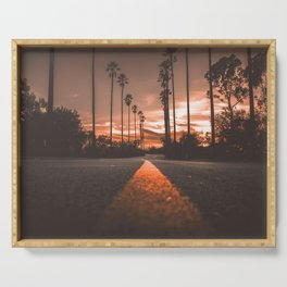 Road at Sunset Serving Tray