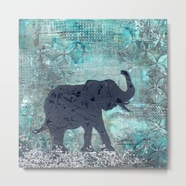 Majestic Series: Turquoise and silver Metal Print