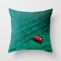 ladybug Throw Pillows featuring Ladybug by tinaperko