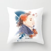 jennifer lawrence Throw Pillows featuring Jennifer Lawrence (Deco Art) by Rene Alberto