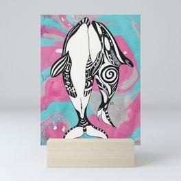 Orca Whales Tribal Teal Pink Marble Mini Art Print