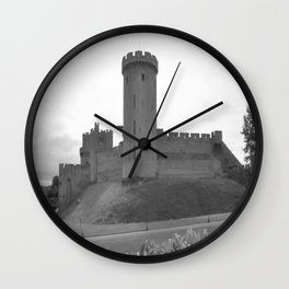 Black and white English Castle Wall Clock