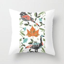 Canadian Maple Folk Art Throw Pillow