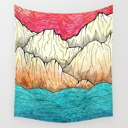 As the sea hits the mountains Wall Tapestry
