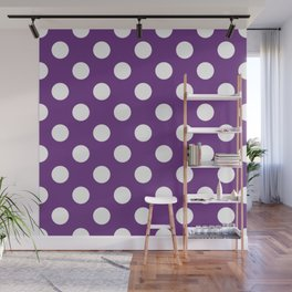 Eminence - violet - White Polka Dots - Pois Pattern Wall Mural