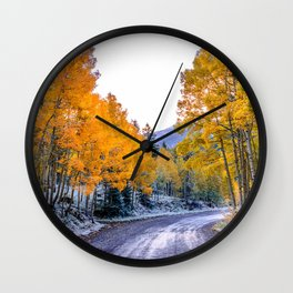 USA Colorado Aspen Autumn Nature Roads forest Forests Wall Clock