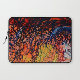 Fire Color Abstract | Red Orange Yellow Blue | Poured Soul Art Laptop Sleeve