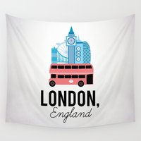 england Wall Tapestries featuring London, England by Milli-Jane