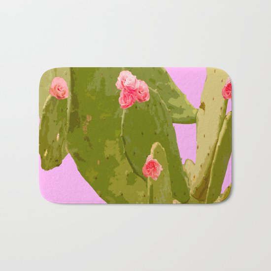 Green cactus with pink flowers on a bright pink background - summer mood Bath Mat