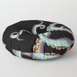 Teal Tentacles Octopus On  Black Floor Pillow