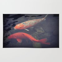 koi fish Area & Throw Rugs featuring Koi Fish by KunstFabrik_StaticMovement Manu Jobst