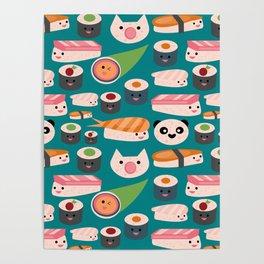Kawaii sushi teal Poster