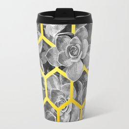 Black and White Succulent Geometric Travel Mug