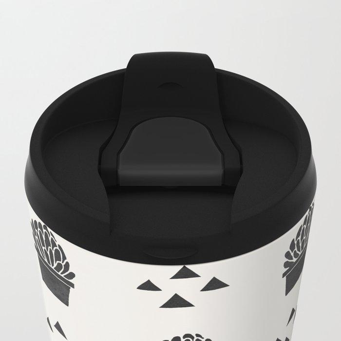 Stamped Potted Succulents Metal Travel Mug