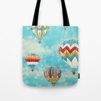 hot air balloons Tote Bags featuring Hot Air Balloons 1 by Music of the Heart