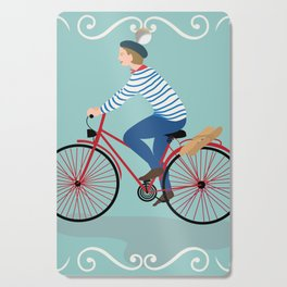 Vintage Style Frenchman on a Bicycle with Baguette Art Print Cutting Board