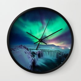 Aurora Borealis Over A Waterfall Wall Clock