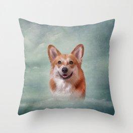 Drawing Dog breed Welsh Corgi portrait Throw Pillow