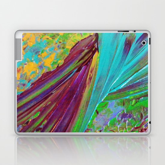 COLOR CHAOS Wild Vibrant Colorful Abstract Acrylic Painting Lime Green Plum Purple Gift Art Decor Laptop & iPad Skin