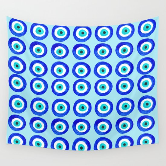 Evil Eye Talisman - on turquoise Wall Tapestry