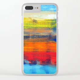 Horizon Blue Orange Red Abstract Art Clear iPhone Case