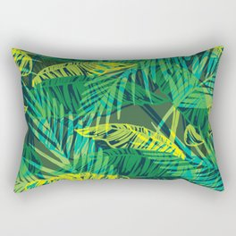EXOTIC TROPICAL GREEN PALM CLUSTER PATTERN Rectangular Pillow
