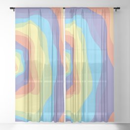Ebb and Flow 4 - Pastel Rainbow waves Sheer Curtain