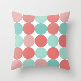 Cheerful Dots in Coral Pink and Aqua. Cute Minimalist Dot Pattern in Cheerful Colours Throw Pillow
