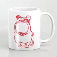 bulldog Mugs featuring Bulldog by drawgood