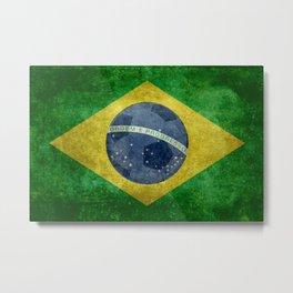 Vintage Brazilian flag with football (soccer ball) Metal Print