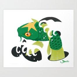 Astro Koi Green Art Print