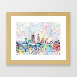 indianapolis city skyline watercolor 7 Framed Art Print