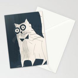 White Fashionable Cat Stationery Cards